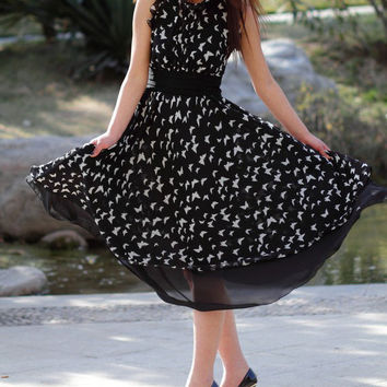 Chiffon dress with butterfly (E61171187)
