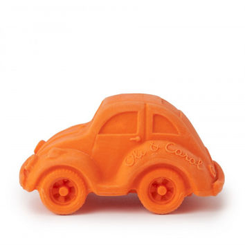 Orange Beetle Car - Natural Rubber Bath Toy