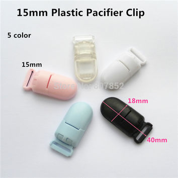 (5 color) 50Pcs/lot Plastic Clips For Pacifier Soother/ Dummy / Nuk / MAM/ Bib / Toy Holder /Suspender Tape width: 15mm
