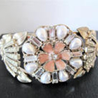 Pearl Clamper Bracelet, Enamel Rhinestone Highlights, Vintage Clamper Cuff,  60's Wedding  Bangle