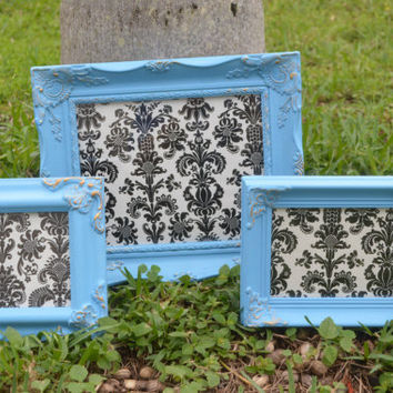 Baby Blue & Gold Picture Frames Set of 3 All with GLASS, BACKING, Wire or Hook on the back for wall hanging - Blue Set of Picture Frames