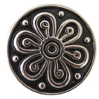 Chunk Snap Charm Metal Flower Black 20 mm