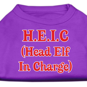 Miragepet Products Puppy Dog Cat Apparel Head Elf In Charge Screen Print Shirt Purple XL (16)
