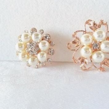 New! Lot of 2  Goldtone Pearl & Crystal Pin/Brooches   -B28
