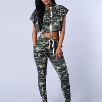 Leisure Hooded Street Style Camouflage Suit