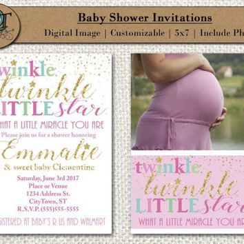 Baby Shower Invitations 5x7 Custom Design Customizable Include Picture Double Sided Photo Image Digital Twinkle Twinkle Little Star