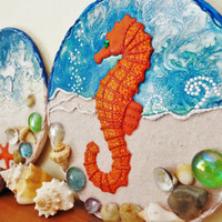Sea set of 2 plaques Sea horse Sea star Wooden plaque Sea decor