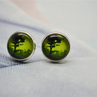 Green Tree Earrings - Life Tree Resin Post Earrings - Stud Earrings - Resin Jewelry cabochon ear stud earrings (ED02)