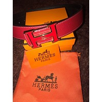 Red Leather Hermes Belt With Gold /Red H Buckle