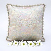 """Destiny Accent Pillow Shimmery Pastels and Gold Lace 15x15"""""""