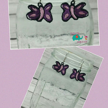 Butterfly free standing lace embroidered earrings, wire earrings, dangling earring, jewelry, accessories, flower, bug, butter fly, insect
