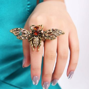 """2.80"""" wide antique gold crystal big bee stretch ring"""