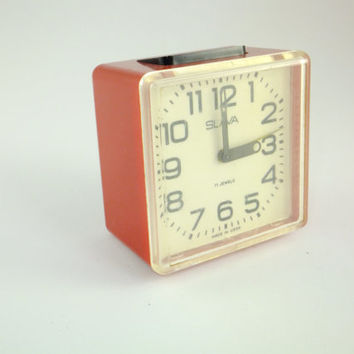 SALE Working Vintage Russian Мechanical Alarm clock Slava From Soviet Union Period Red Alarm Clock, CCCP