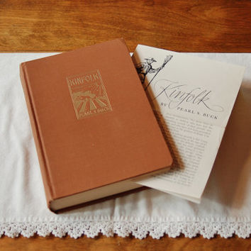 Kinfolk by Pearl S. Buck 1949 First Edition, Novel of China with Book Promotion Pamphlet, Pulitzer Prize Winning Author