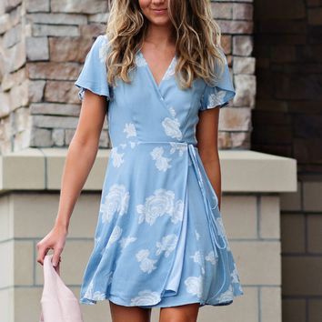 * Carnation Short Sleeve Floral Wrap Dress : Dusty Blue