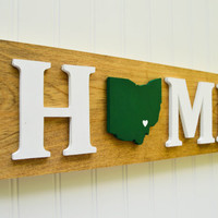 "Ohio Bobcats ""State Heart"" Home Sign - Handcrafted wood with official team colors"