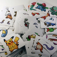 Full 151 Pokemon Sprites Sticker Set