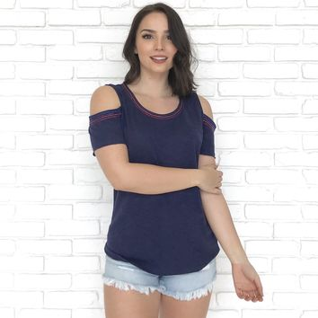 Sanctuary Embroidered Top in Navy