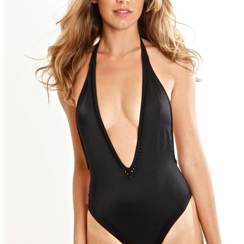 Peixoto Kai Swimsuit | Black One Piece Swimsuit