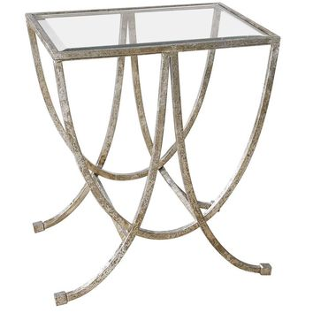 Marta Antiqued Silver Side Table By Uttermost