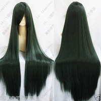 HOT~SAILOR MOON Pluto Meiou Setsuna LONG STRAIGHT DARK GREEN COSPLAY WIG 100CM