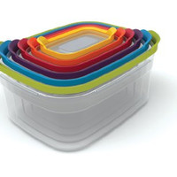 Joseph Joseph 81009 Nest Storage Plastic Food Storage Containers Set Food Saver Resuable Tupperware Lunch Box Pantry Storage Microwave-Safe, 12-Piece, Multicolored