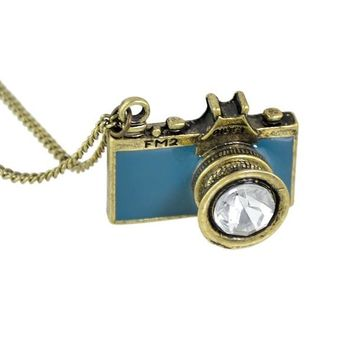 Gold Colorful Enamel Camera Pendant Necklace
