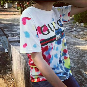 Gucci Women Tie Dye Fashion T-shirt