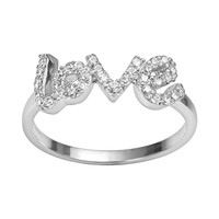 Sophie Miller Sterling Silver Cubic Zirconia ''Love'' Ring (White)