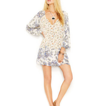 Free People Bishop-Sleeve Floral-Print Dress