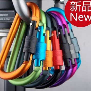Bold Color Outdoors Carabiner Hook 8CM D-Type Locking Aluminum Keychain Equipment Supplies Military Fans