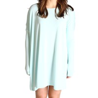 Mint Piko Tunic Long Sleeve Dress