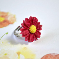 Crimson Red Daisy flower Ring - Bows Jewellery