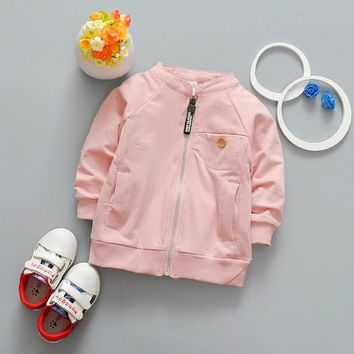 Trendy Children Cardigan 2017 New Children's Clothing Solid Color Baby Boys Girls Bomber Jackets Kids Autumn Long Sleeve Coats 0-3 Year AT_94_13