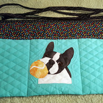Playful Dog Apron for Dog Agility, Dog Obedience, Horse Training Apron - Appliqued Boston Terrier, French Bulldog