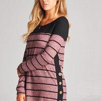 Black & Mauve Striped Button Tunic