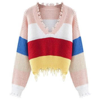 Plunge Neck Long Sleeve Color Blocking Fringed Loose Women Pullover Sweater