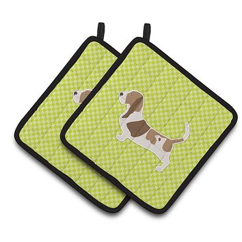 Basset Hound Checkerboard Green Pair of Pot Holders BB3802PTHD