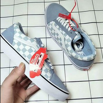 8ce476c2dc8 VANS Classic Lite new fashion plaid sports couple shoe Blue