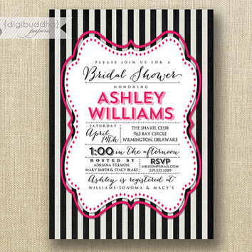 Black & White Bridal Shower Invitation Fuchsia Hot Pink Modern Script Bride to Be Wedding Lingerie DIY Printableor Printed - Ashley