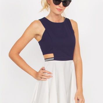 Navy White Preppy Cutout Dress