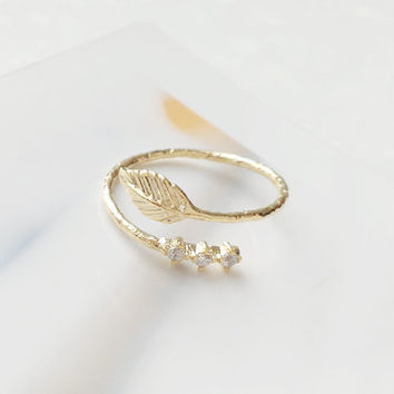 Leaf Ring, Mini Cubic Ring, Little Finger Ring, Knuckle Ring, Adjustable Ring, Cute Ring, Korean Ring, Anniversary Gift, Womens Ring