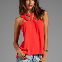 BCBGMAXAZRIA Cutout Sleeveless Top in Bright Poppy from REVOLVEclothing.com