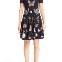 Alexander McQueen 'Obsession' Jacquard Knit Fit & Flare Dress | Nordstrom
