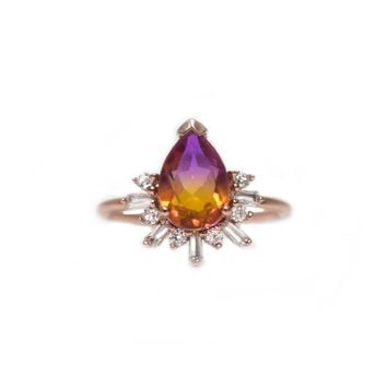 Rose Gold Ametrine & Diamond Queen Bee Ring
