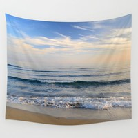 """Serenity sea"". Waves. At sunset Wall Tapestry by Guido Montañés"