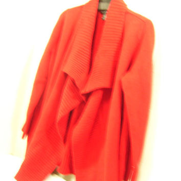 True Red Winter Sweater | Jacket | Coat Shawl Collar Over Sized