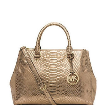Michael Michael Kors Metallic Python Medium Sutton Satchel