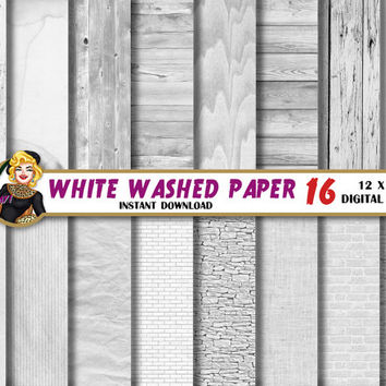 White Washed digital paper, white textures, wood, bricks, linen backgrounds, patterns, Scrapbooking Paper for invites, cards, wedding