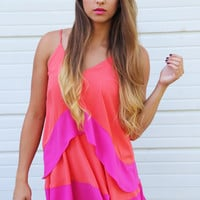 Coral + Fuchsia Party Dress